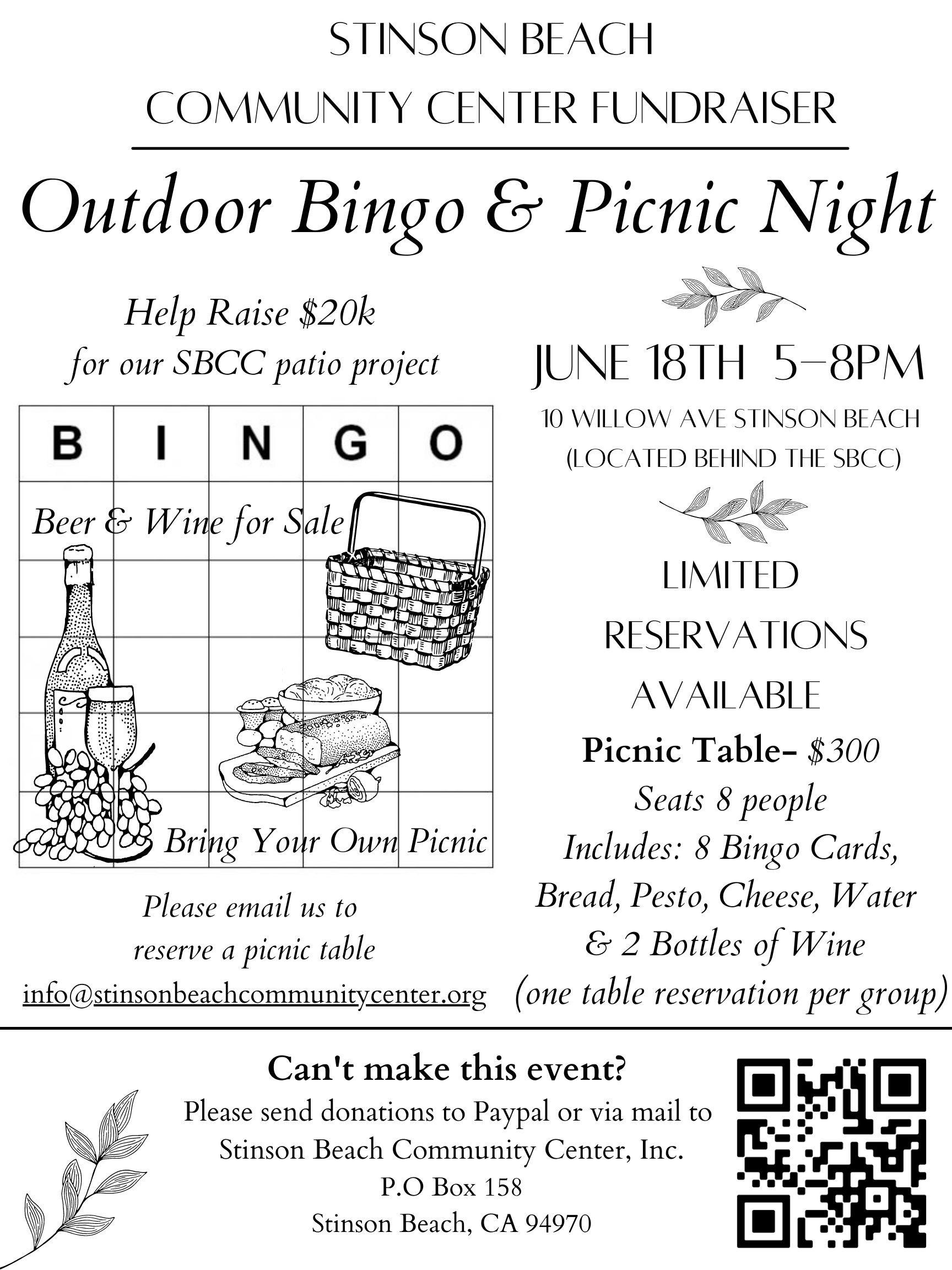 🧺 Outdoor Bingo & Picnic Night Fundraiser